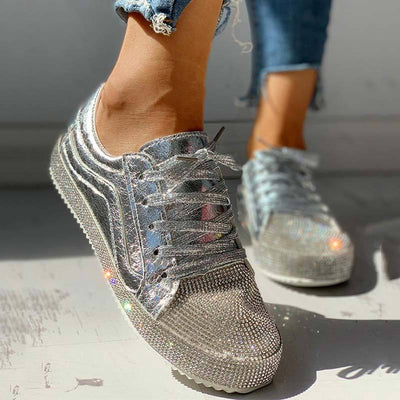 Sequins Casual Lace-Up Sneakers - GlitterLily