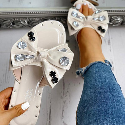 Studded Bowknot Design Casual Slipper Sandals - GlitterLily