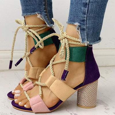 Colourblock Lace-up Chunky Heels Open Toe Sandals - GlitterLily