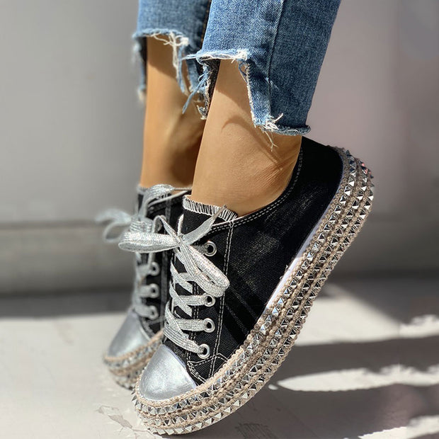 Leopard Rivet Embellished Lace-Up Sneakers - GlitterLily