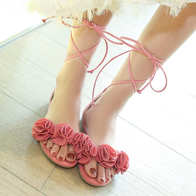 Lace Up Flower Decoration Flat Sandals - GlitterLily