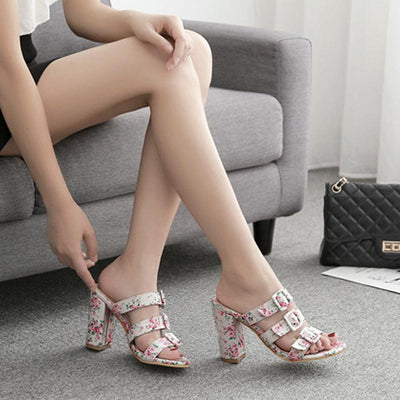 Printed Hollow Toe High Heels - GlitterLily