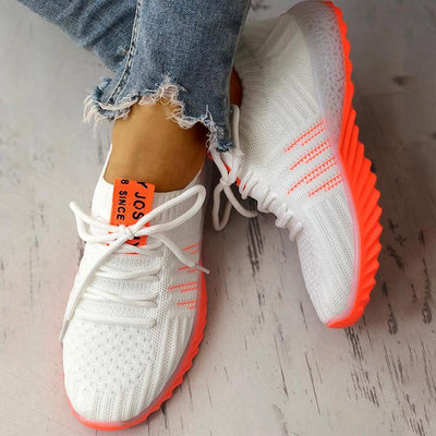 Colorblock Knitted Breathable Lace-Up Sneakers - GlitterLily