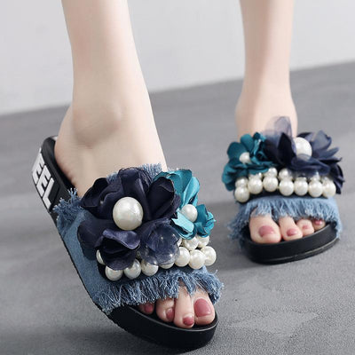 Pearl Flower Casual Flat Shoes - GlitterLily