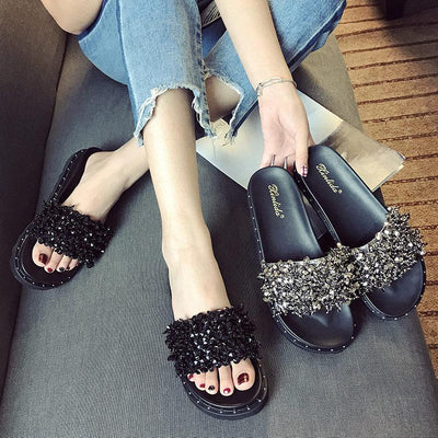 Sequined Rubber Platform High-end Slippers - GlitterLily