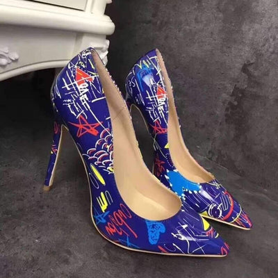 Pointed Shallow Mouth Printed High Heels - GlitterLily