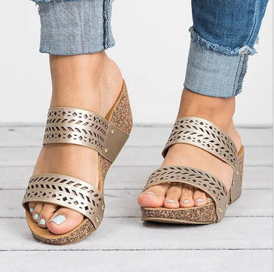 Fashion Pierced Carved Wedge Sandals - GlitterLily