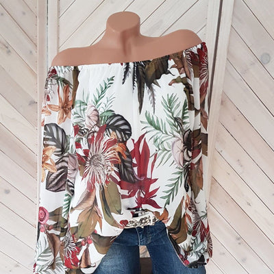 Off Shoulder Printed Lantern Sleeve Shirt - GlitterLily