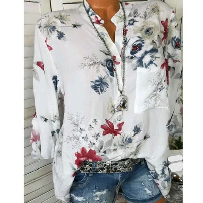 Fashion Printed V-neck Long-sleeved Blouse - GlitterLily