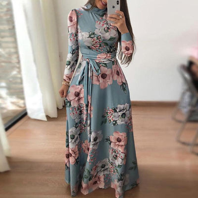 Casual Printed Strap Long Sleeve Dress - GlitterLily