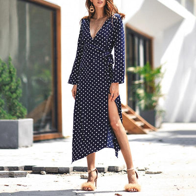 Polka Dot V Neck Dress - GlitterLily