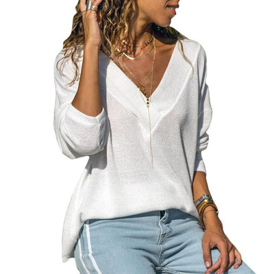 Solid Color V-neck Long-sleeved Knit Top - GlitterLily