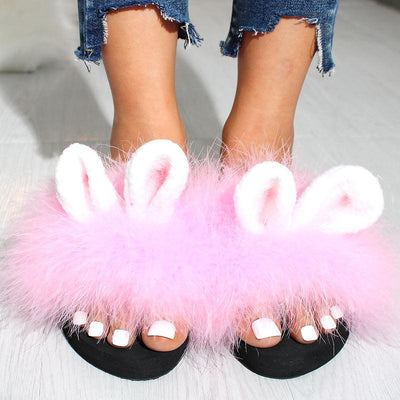 Fashionable Fluffy Rabbit Ears Cute Sandals And Slippers - GlitterLily