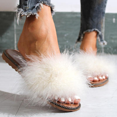 Fashionable Ostrich Wool Flat Sandals And Slippers - GlitterLily