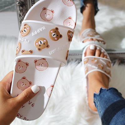 Fashion Bear Pattern Flat Non-slip Sandals Slippers - GlitterLily