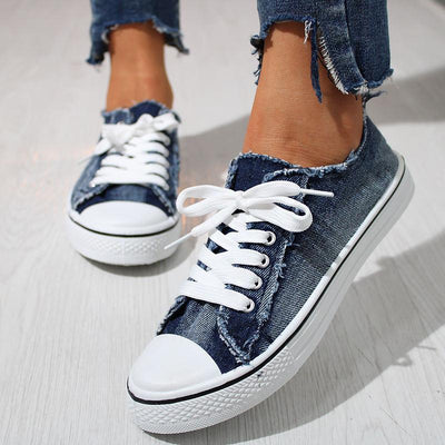 Fashion Denim Canvas Low-top Sneakers - GlitterLily