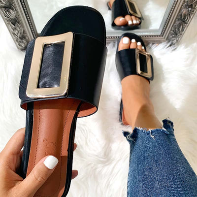 Women's Fashion Metal Buckle Flat Slippers Sandals - GlitterLily