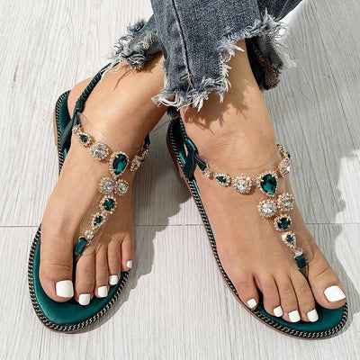 Fashion Gem Decoration Flat Flip Flops Sandals - GlitterLily