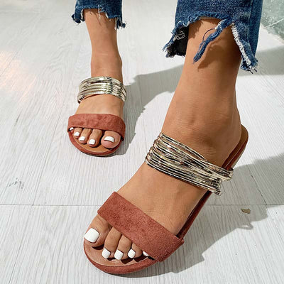 Fashion Metal Ring Flat Sandals - GlitterLily