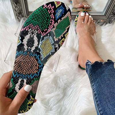 Fashion Leopard Snake Print Transparent Flat Sandals Slippers - GlitterLily