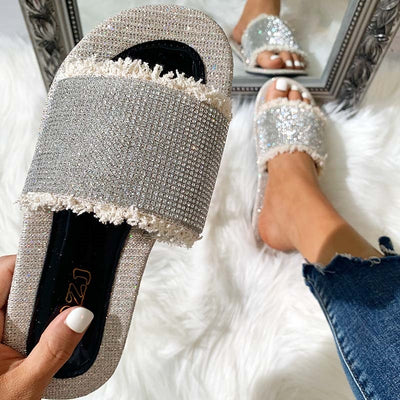 Fashion Rhinestone Simple Flat Sandals Slippers - GlitterLily