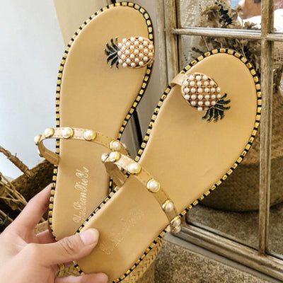 Pineapple Pattern Toe Pearl Casual Sandals - GlitterLily