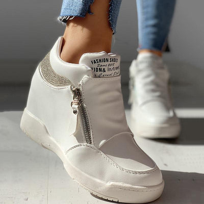 Zippper Studded Platform Wedges Casual Sneakers - GlitterLily