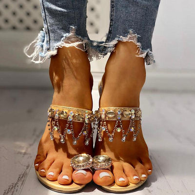 Studded Detail Toe Ring Casual Sandals - GlitterLily