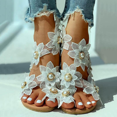 Toe Ring Flower Design Flat Sandals - GlitterLily