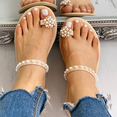 Toe Ring Beaded Casual Sandals - GlitterLily