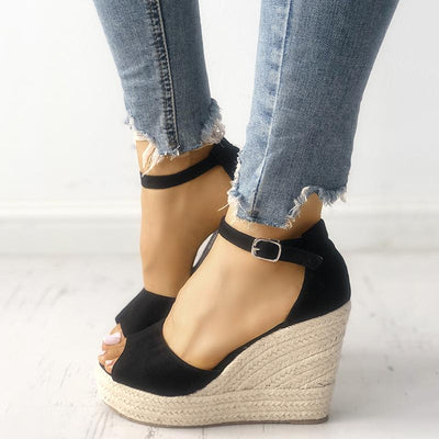 Suede Hemp Pointed Wedge Sandals - GlitterLily