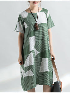 722c08a98f Round Neck Flap Pocket Color Block Geometric Plus Size Midi   Maxi Dress