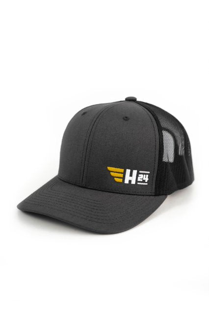 H24 Embroidered Trucker Hat in Black/Charcoal (New!)