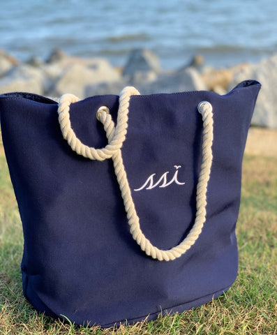 Bag - Beach Bag - Navy Bag / White Logo / Rope