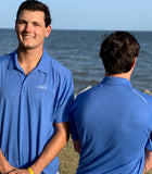 Mens Polo - Heather Royal Blue with white logo