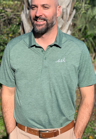 Mens Polo - Heather Green with white logo