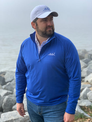 Royal Blue 1/4 Zip Thick Pullover with White Logo