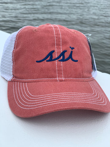 Hat - Ahead mesh - Rust color hat / white mesh / Navy Blue logo