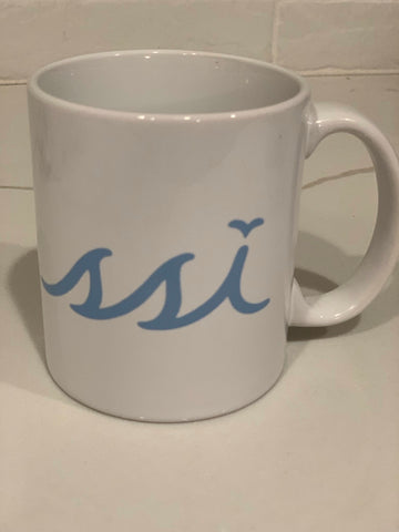 Coffee Mug Light Blue and White