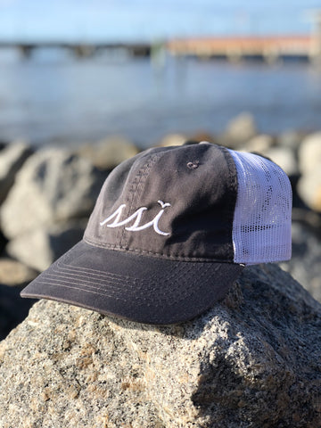Hat - Outdoor mesh - Charcoal Grey hat / White mesh / White logo