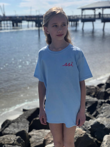 Kids T Shirt - Gildan - Light Blue color T-Shirt / Pink logo