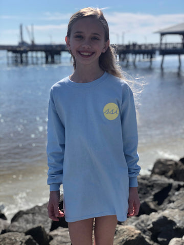 Long Sleeve Kids T Shirt - Comfort Colors - Light Blue with Yellow