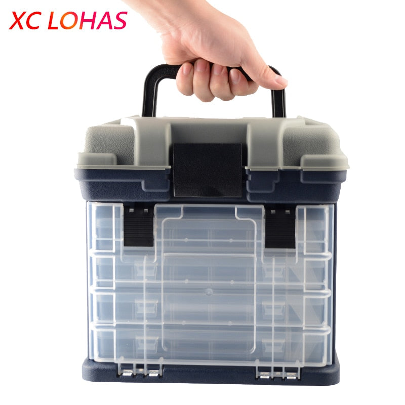27*17*26cm 5 Layer PP+ABS Big Fishing Tackle Box High Quality Plastic Handle Fishing Box Carp Fishing Tools Fishing Accessories
