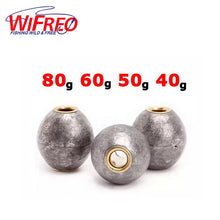 Load image into Gallery viewer, Fishing Weights 30g 40g 50g 60g 80g Lead and Copper Rounded Long Casting Rock Debris Fishing Sinkers