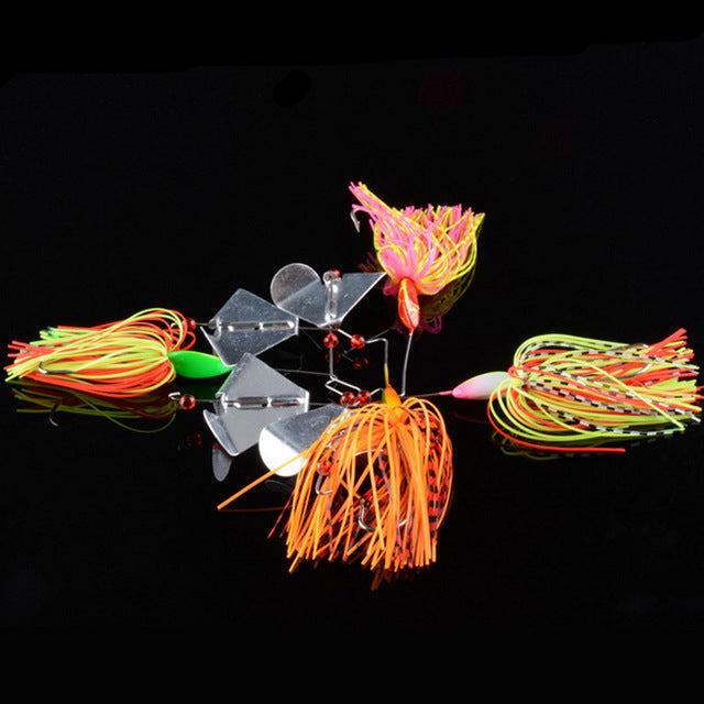 L61J Mixed color 4pcs/set 16g Spinnerbait Large Mouth Bass Fish Metal Bait Sequin Beard Lead Head Pike Lures Tackle Rubber Jig