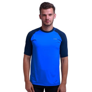 H.MILES Men's Rash Vest Short Sleeve Male Adults Rashguard Swim Base Layer Snorkeling Swimming Surfing Tops Diving Beach T-shirt