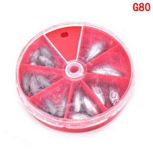 1 Box Fishing Supplies Of Lead Explosion Models Sinkers 4 Types Fish Accessories Fishing Tackle Boxes Hot Selling