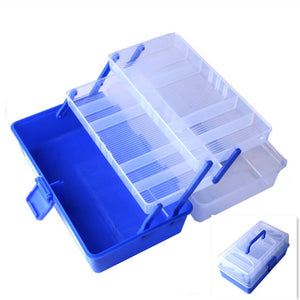 Waterproof Fishing Tackle Box 7 Bars Open Double Fishing Lure Bait Hook Storage Case Sinkers Weights Leaders Swivel Box