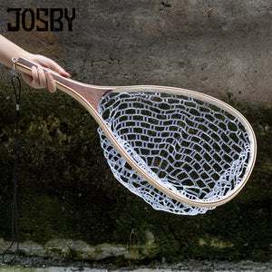 Carp Fishing Fly Fishing Net Tackle For Fishing Nylon Rubber Net Wooden Handle Trout Catch and Release Water filter basket