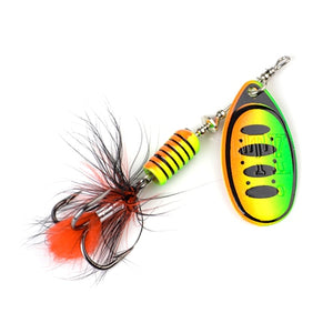 FTK 1Pcs Mepps Spinner Bait 7.5g 12g 17.5g Spoon Lures Metal Fishing Lure Bass Hard Bait With Feather Treble Hooks  13 colors
